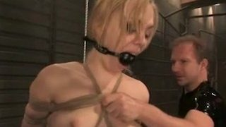 Blonde BDSM Slave in Red Latex Suit Fucked Hard.Warning:Extreme Deepthroat!