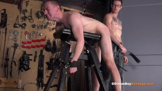 BDSM Hung Jock Slave Submits To Master – Cums While Crucified & Is Fucked