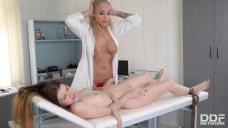 Sadistic lady doctor Kayla Green binds & spanks subby patient Misha Cross